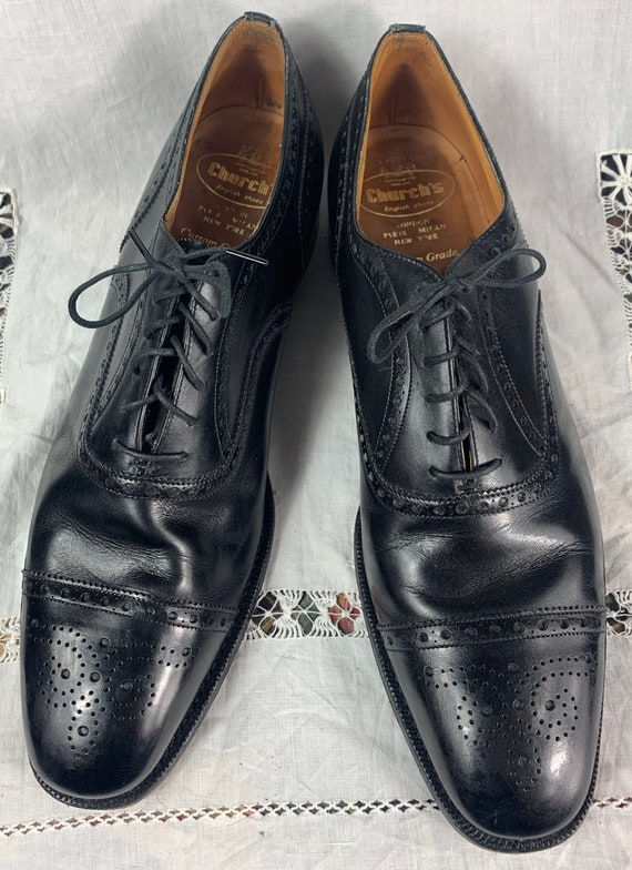 Vintage 1940s 1950s Hand Sewn Leather Wingtip Shoes Church's from England 12 B