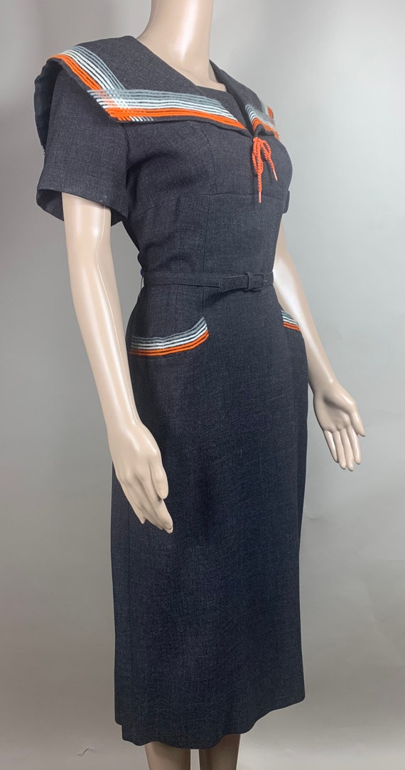 Vintage Women's Challis Wool Wiggle Dress Med