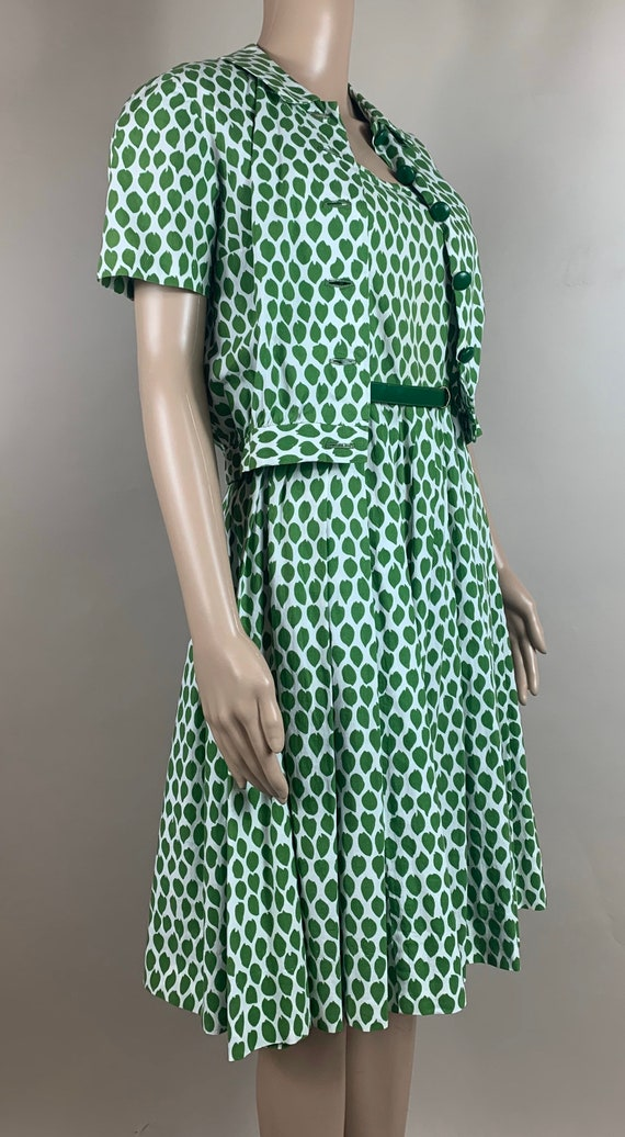 Vintage 1960s Cotton Green White Two Piece Leaf Dress Petite