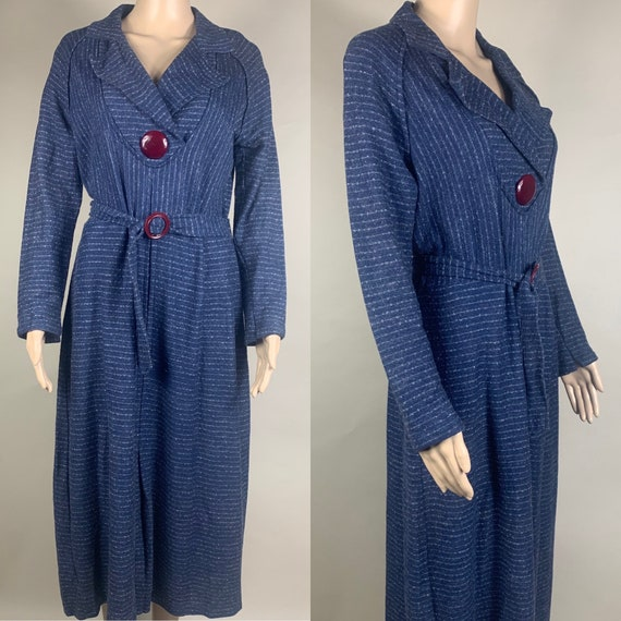Vintage XXL 1930s Blue Wool Dress w Belt