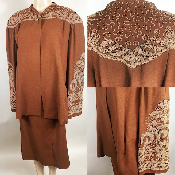 Vintage Late 1940s Early 1950s Cocoa Brown Women's Soutache Beaded Suit XXL