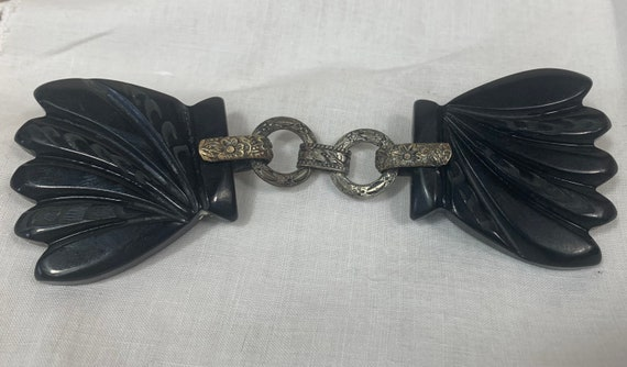 Vintage 1930s Black Bakelite Cloak Fastener Clip