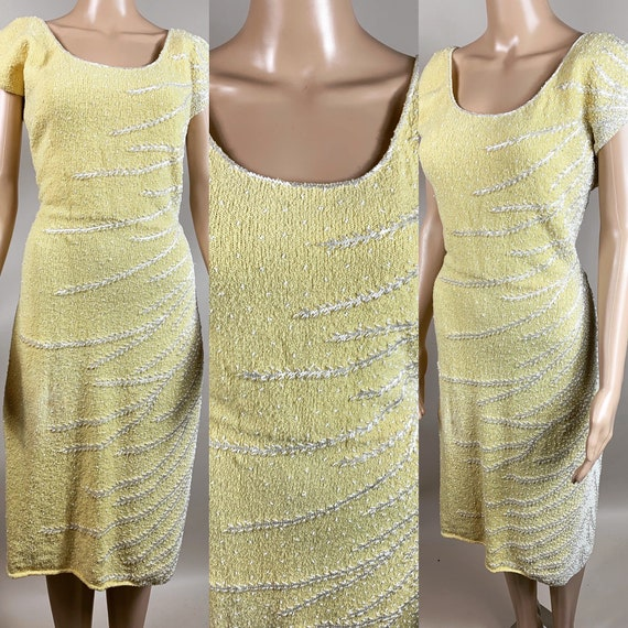 Vintage Late 1950s Early 1960s Yellow and White Be