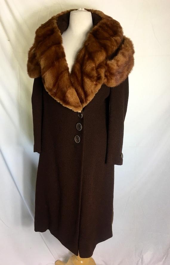 Vintage 1930s Red Mink Trimmed Brown Wool Coat Small Medium
