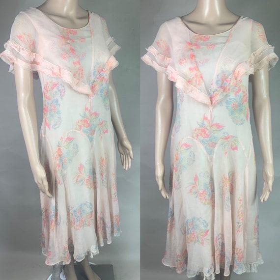 Vintage 1920s 1930s Pink Floral Crepe Chiffon Dress