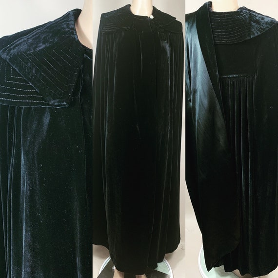 Vintage 1930s Black Velvet Opera Cloak One Size Fits All