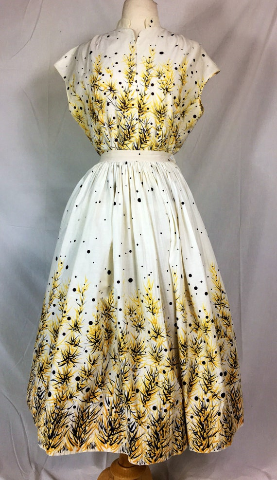 Reserve for Emma O. to be paid July 26, 2018 1950s 1960s Two Piece Yellow Black Beige Bamboo Blouse Skirt by Koret Large
