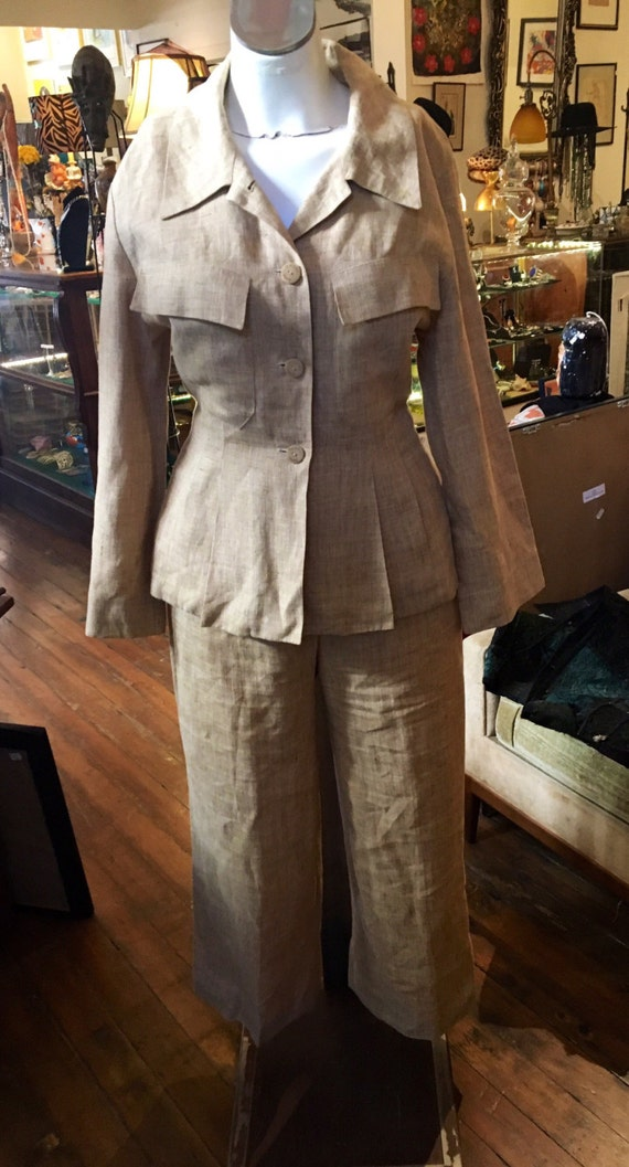 Vintage Chanel Linen Jacket amd Pants Size Small