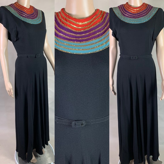 Vintage 1940s Black Crepe Gown with Red, Turquoise and Purple Neckline