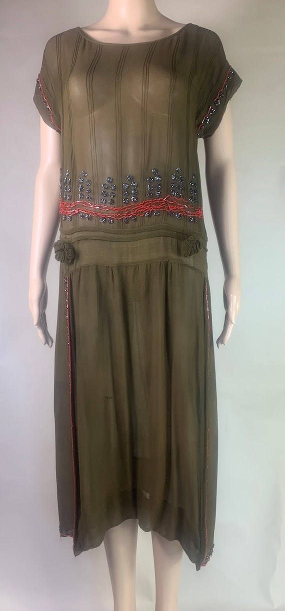 Vintage 1920s Army Green Chiffon Crepe w Beading As Is