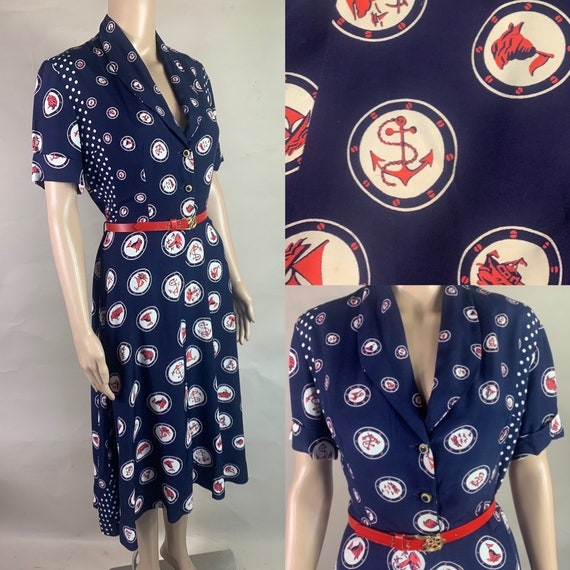 Vintage 1940s are's, White and Blue Nautical Dress w Pockets