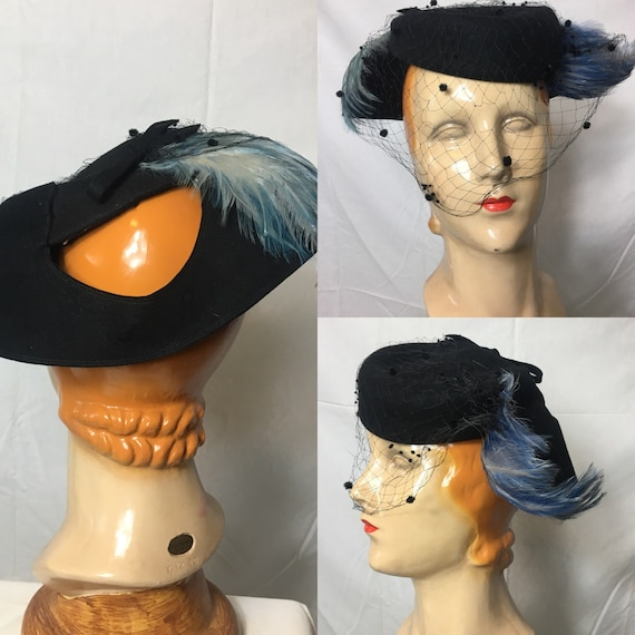 1940s Black Felt Tilt Hat w Blue Feathers by Andrea One Size