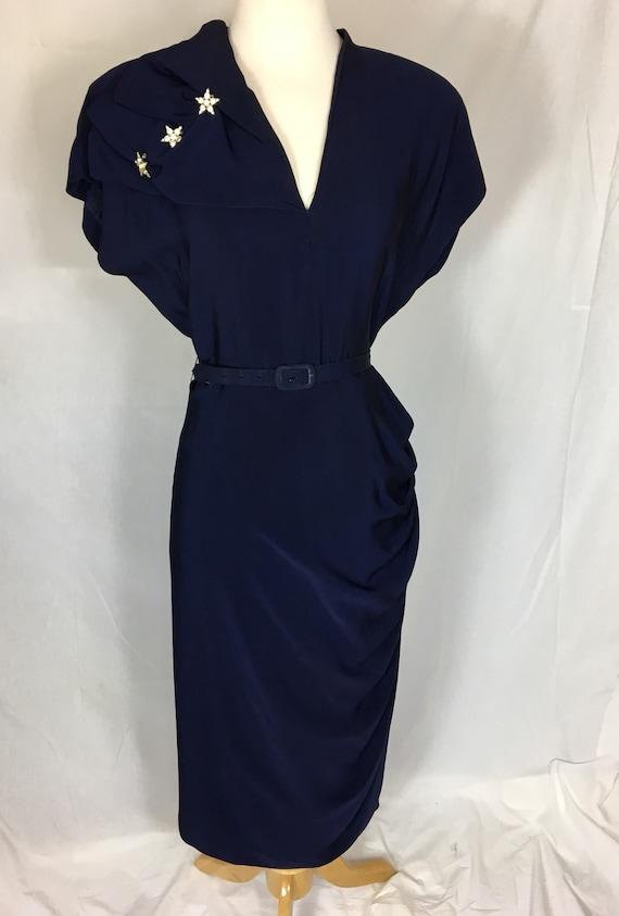 Vintage Late 40s Navy Blue Rayon Dress w Rhinestone Stars and Side Drape