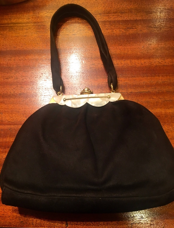 "1940s Black Suede Cocktail Purse by ""Florence."""
