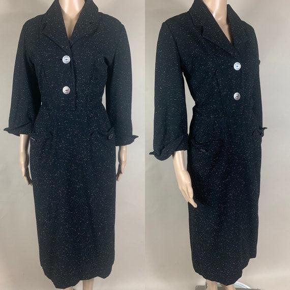 Vintage 1950s New Look Black White Wool Dress