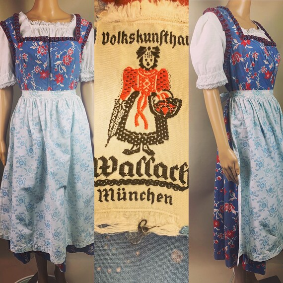 Vintage 1950s Dirndl Dress Set by Wallach Lg