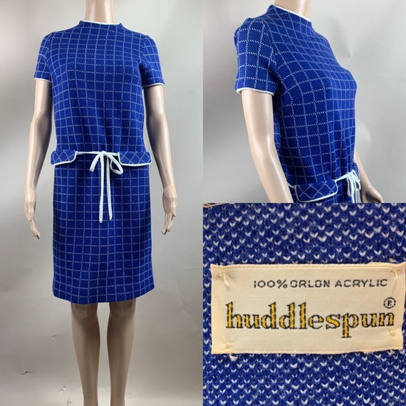 Vintage 1960s Blue White Check Mod Dress Sm