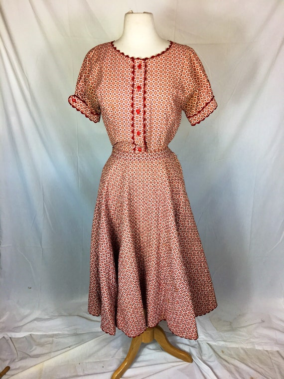Vintage Late 1950s Two Piece Red Cotton Blouse and Quilred Skirt Small