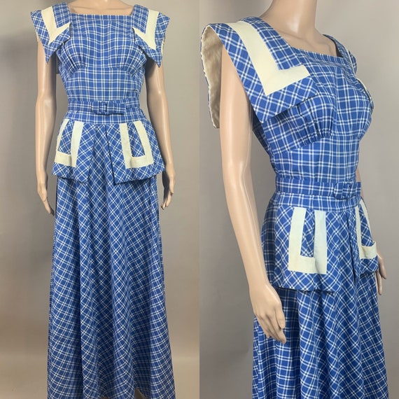Vintage 1940s Blue White Check Long Picnic Dress Small