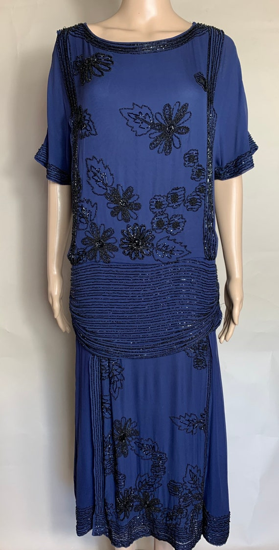 1980s Does 1920s Navy Blue Rayon Chiffon Beaded Dress