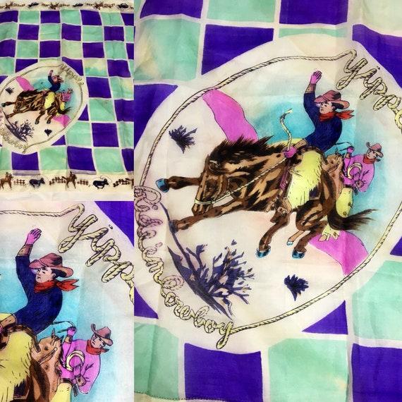 Vintage 1930s Purple Light Turquoise Cowboy Silk Scarf