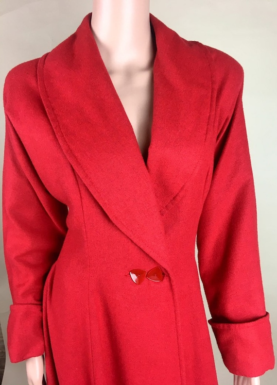 Vintage 1950s Cherry Red Lightweight Wool Princes… - image 3