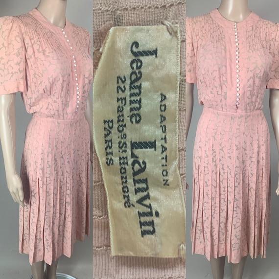 Vintage 1940s Lanvin Silk Crepe Dress