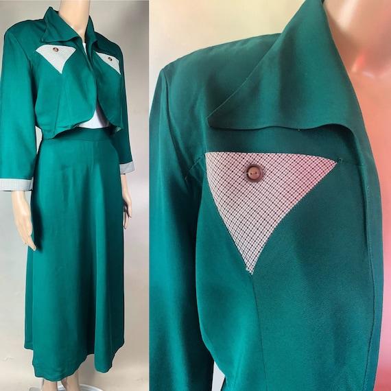 Vintage 1940s Two Piece Gaberdine Suit w Short Jacket