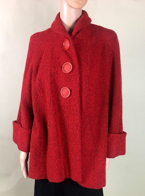 Vintage 1950s Red and Black Boucle Car Coat Giant Red Buttons