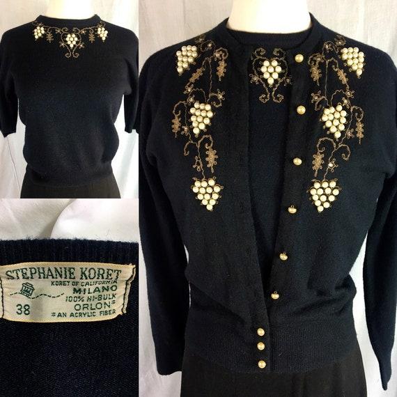 Vintage 1950s Black Beaded Rhinestone Sweater Set by Stephanie Koret of California