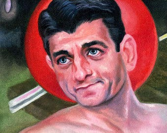 Larger Canvas Print / Ayn Rand Admires The Pancake Abs Of Paul Ryan