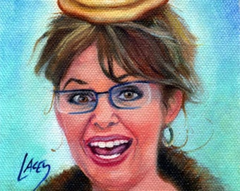 Canvas Print / Sarah Palin With Pancakes On Her Head