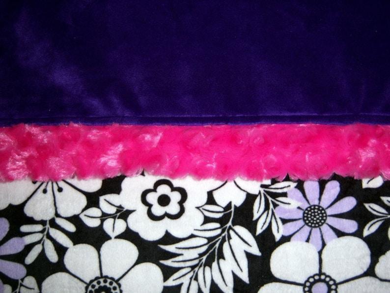 Purple And Hot Pink Zebra BabyToddler Minky Blanket With Purple Backing SALE White Black Lavender