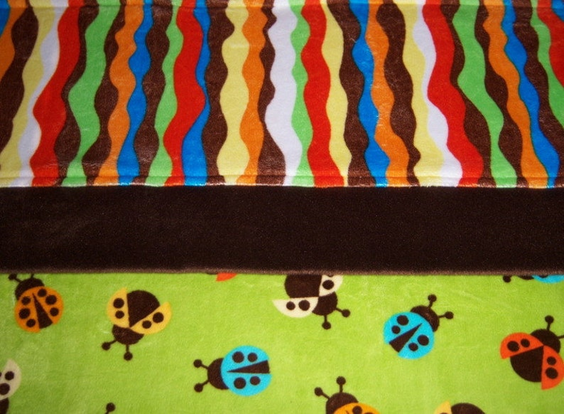 SALE Turquoise Yellow /& Ivory Lady Bugs BabyToddler Minky Blanket Fluttering Orange