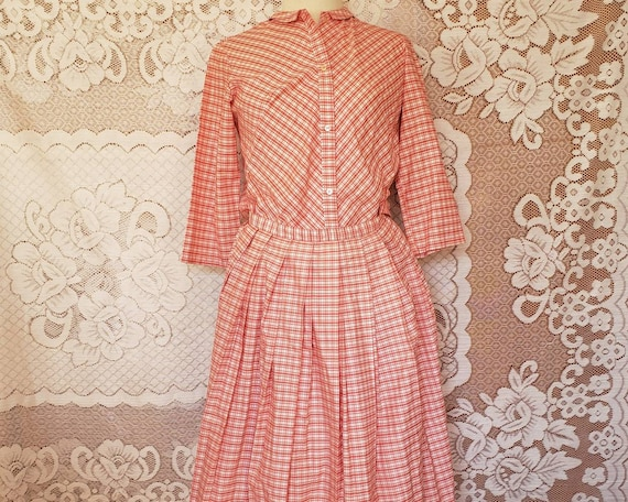 1950s Majestic Pink Gingham Blouse and Skirt Set