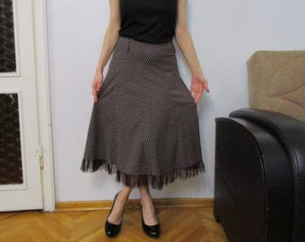 Brown Skirts,  Vintage Skirt, Ruffled Skirt, Polka Dot Maxi Skirt, Denim Ruffle Skirt 90s High Waist Vintage Midi Length Skirt Medium