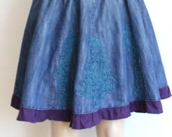 Denim Skirt ,Reconstructed, recycled Denim  Skirt - Size  Medium and Large