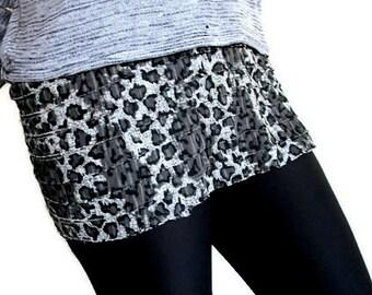 Dress Extender, Shirt Extender, Leopard Print Tiered Ruffle Extender Half Slip Skirt Extender Slip Extender, S / M / L / XL / XXL, Plus Size