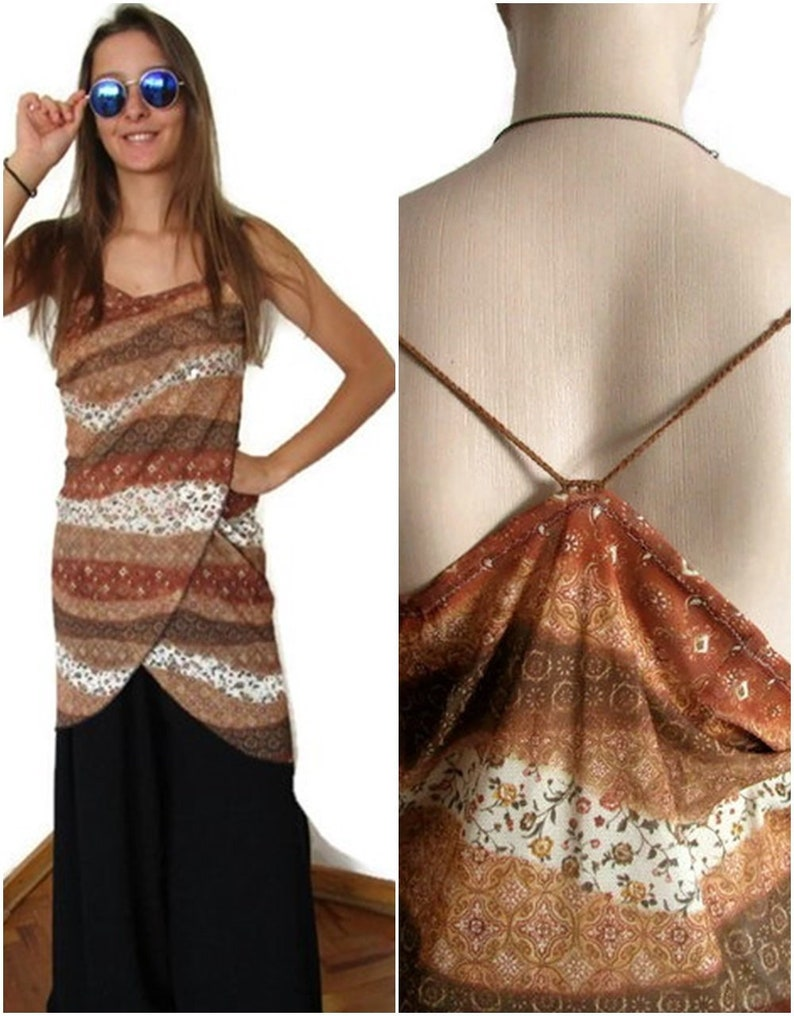 f5afdbb91c6c Women Dress Brown Beach Dress Loose dress Backless