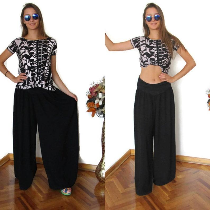 c20ff039480 Plus Size Wide Leg Pants Black Rayon Extra Wide Pant
