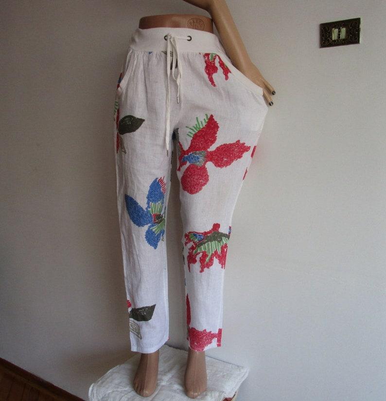 5bbf0d790d pant pantaloni, pantaloni di lino, lino pantaloni, pantaloni di lino con  coulisse in vita, Pantaloni donna, pantaloni estivi bianco, pantaloni  vintage ...