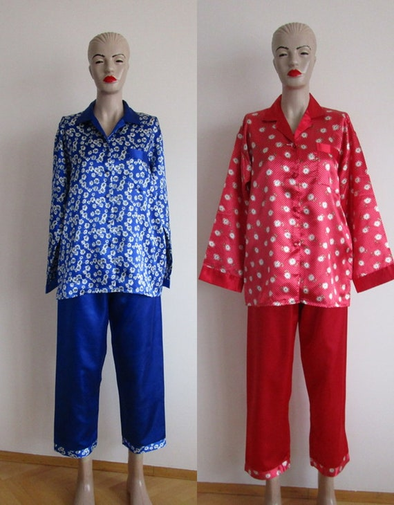 Women Pajama Set, Red Satin Shirt Pants, Nevy Blue