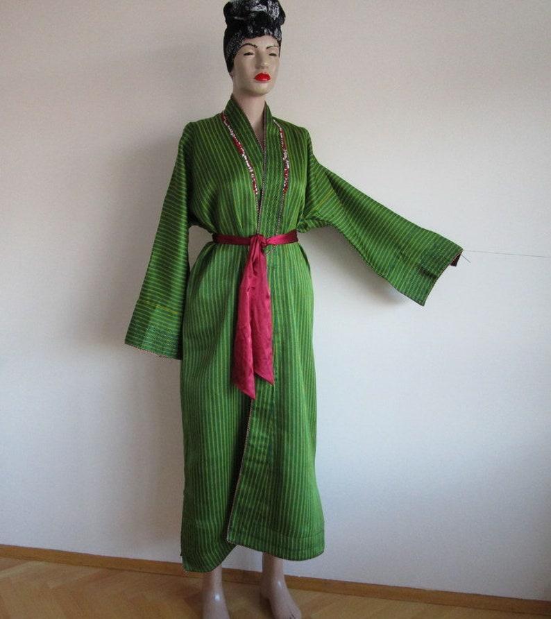 Vintage Kaftan Vintage Handmade Kaftan Green Long kaftan Turkish Ottoman Caftan Striped Caftan  Vintage Robe Antique Clothes