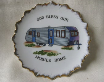 Vintage God Bless Our Mobile Home Plate