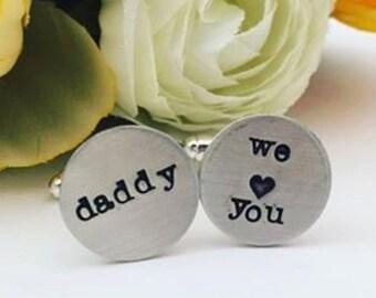 Personalized Cufflinks - Hand Stamped Cufflinks - Cufflinks for Dad - Handstamped Cufflinks - Wedding Cufflinks - Custom Cufflinks