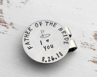 Father Of The Bride Golf Ball Marker - Personalized Ball Marker Hat Clip Father's Day Gift - Custom Ball Marker - Golfer Gift - Wedding Gift