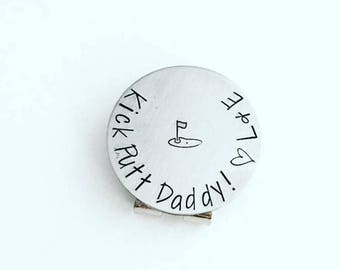 Golf Ball Marker Kick Putt Daddy - Father's Day Golf Gift - Personalized Ball Marker Hat Clip - Custom Ball Marker - Stamped Golfer Gift