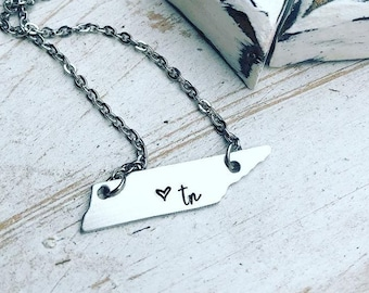 Tennessee Necklace - Hand Stamped Jewelry - Tennessee Heart Necklace - Tennessee State Necklace - Tennessee Home Necklace - TN Necklace