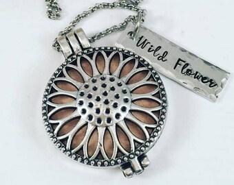 Diffuser Necklace - Wild Flower Personalized Necklace - Hand Stamped Aromatherapy Necklace - Aromatherapy Essential Oil Diffuser Locket