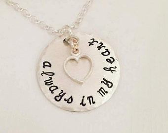 Always in my Heart Necklace - Birth Mom Necklace - Hand Stamped Jewelry - Heart Jewelry - Adoption Mom - Mom Gift - Personalized